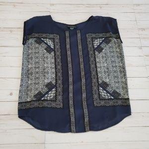 Cynthia Rowley Navy Blue Pattern Blouse Size M